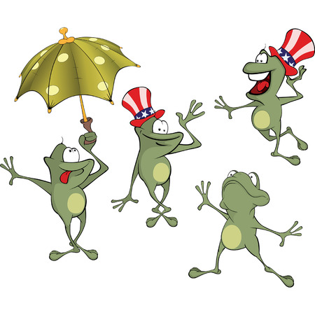repulsive: illustration of a set of cute cartoon green frog Illustration
