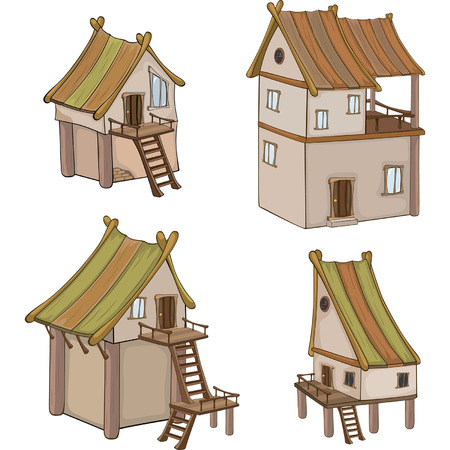 holiday villa: Set of cute houses for you design and computer game
