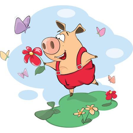 cute animal cartoon: A cute pig farm animal cartoon