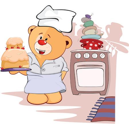 cocina caricatura: cachorro de oso de peluche de juguete y pastel de dibujos animados
