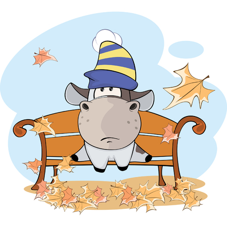 beautiful cow: little cow and falling leaves Cartoon Illustration