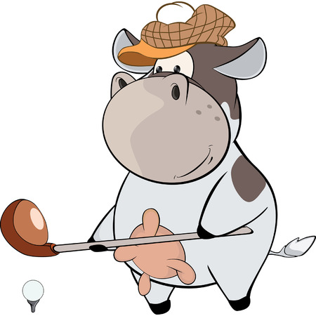 little golfer cow Cartoon