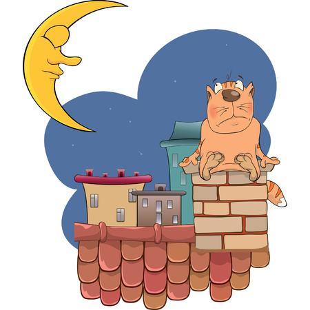 house pet: illustration of a cute cat cartoon