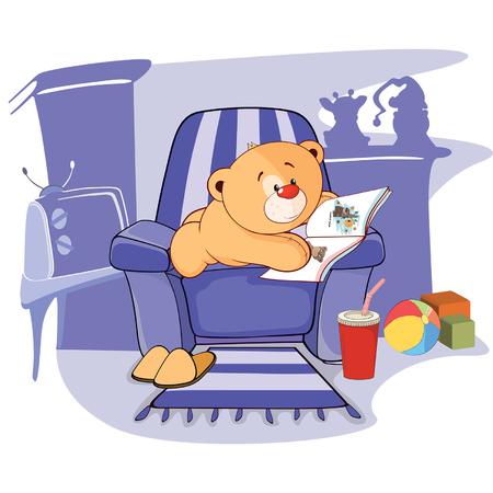 nursery tale: illustration of a stuffed toy bear cub cartoon Illustration