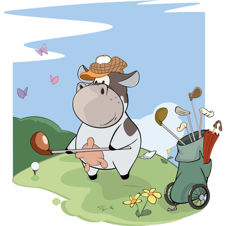 A little golfer cow. Cartoon