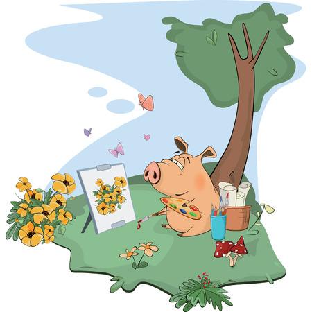 cute cartoon: A cute pig artist paints a picture. Cartoon