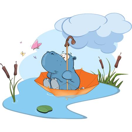 hipopotamo caricatura: Hippo aventura de dibujos animados