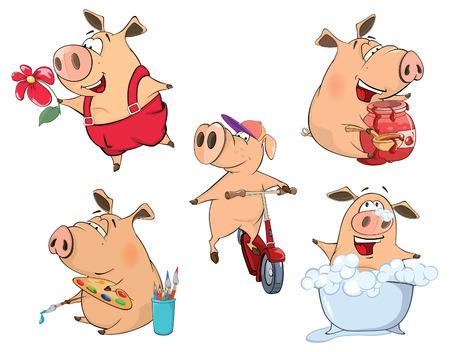 cartoon painter: set of cheerful pigs cartoon