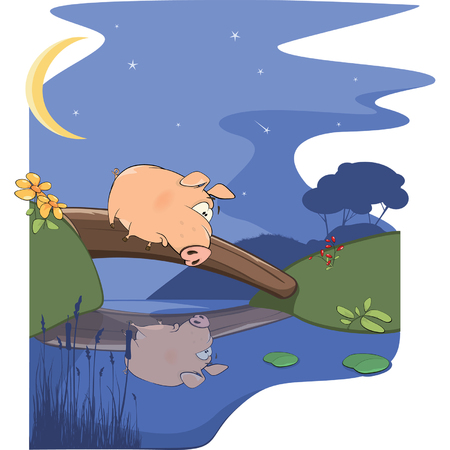 stars  background: A fairy tale about a pig and a small river Illustration
