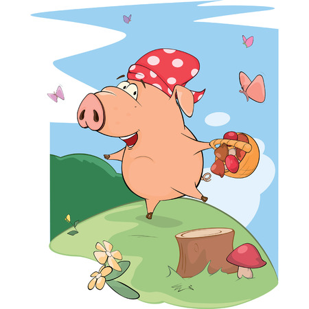 pink flower: cute pig farm animal cartoon
