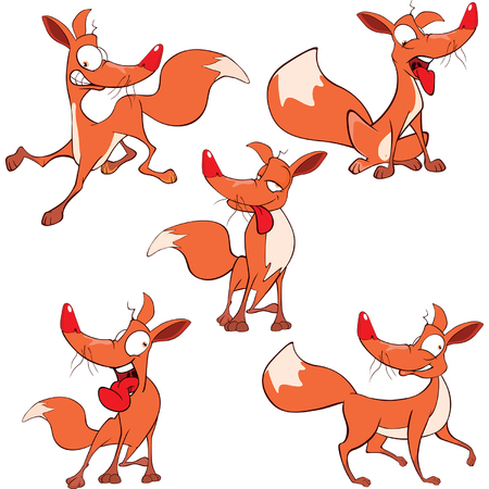 illustration of a set funny foxes. Cartoon Illustration