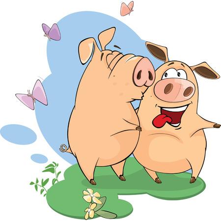 kiss love: illustration of pigs sharing love Illustration