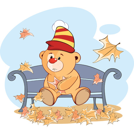 A stuffed toy bear cub and falling leaves. Cartoon