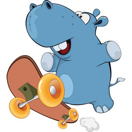 hipopotamo cartoon: Un pequeño hipopótamo. Cartoon