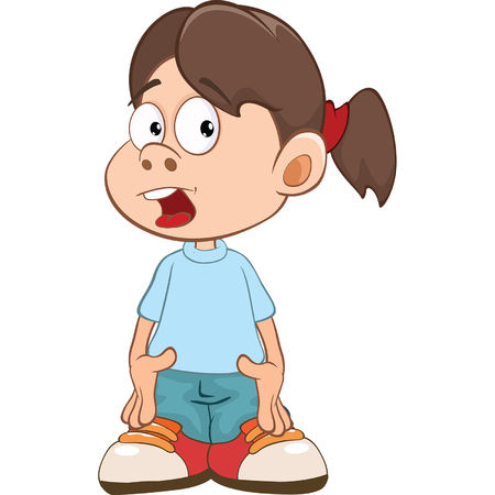 schoolkids: Illustration of Cute Little Girl