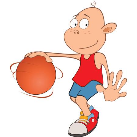familia animada: Ilustración de Little Boy lindo. Jugador de baloncesto Vectores