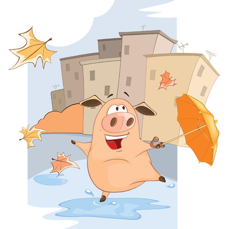 windy day: A cute Pig and Windy Autumn Day Cartoon