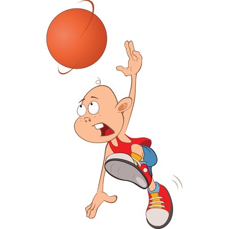 the animated cartoon: Illustration of Cute Little Boy. Basketball player Illustration