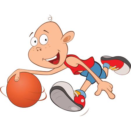 boy basketball: Illustration of Cute Little Boy. Basketball player Illustration