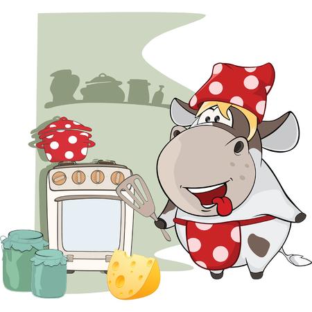 Illustratie van Gourmet Chef Cow. Stripfiguur