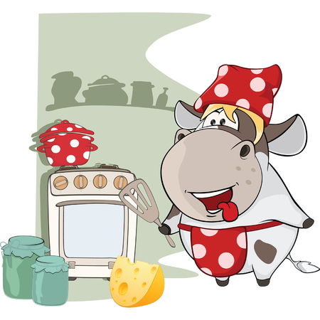 gourmet: Illustration of Gourmet Chef Cow. Cartoon Character