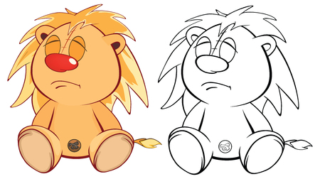 rey caricatura: Funny yellow young lion cartoon. Coloring page Vectores