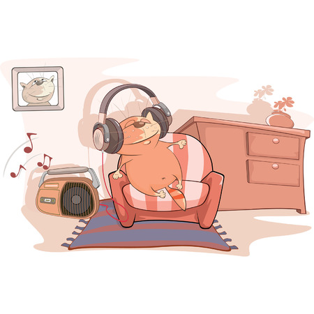 audiophile: Illustration of a Cute Cat Audiophile