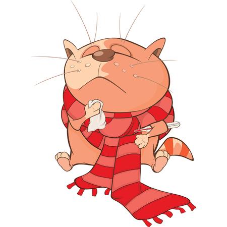 sinusitis: Illustration of a Cute Cat. Cartoon Character
