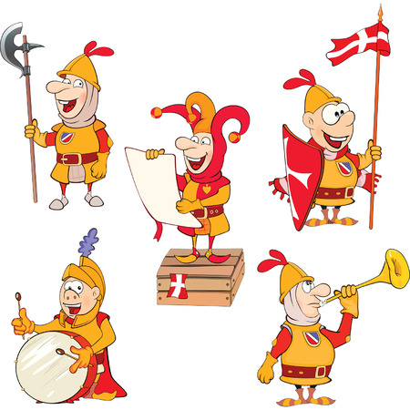 teutonic: Set of Cartoon Illustration Cute Knights for you Design Illustration