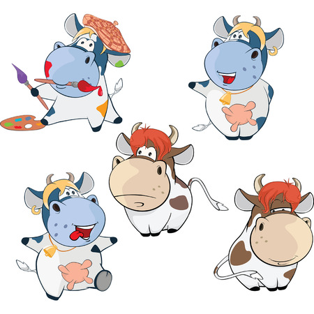 Set Cartoon Illustration Cute Cow for you Design Cartoon Character