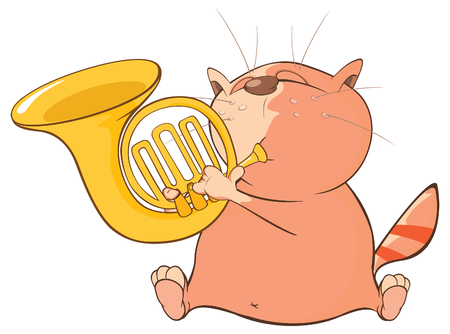 popular: Illustration of a Cute Cat Trumpeter. Cartoon Character Illustration