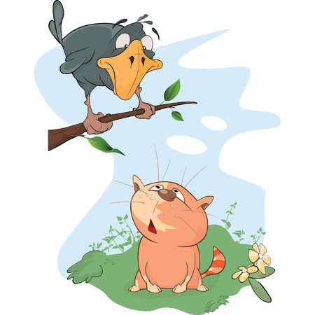 Illustration of A Raven and a Cat. Cartoon