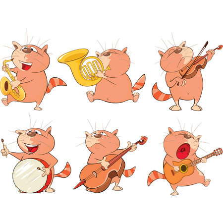 woodwind: Illustration of a Set of a Cute Cartoon Cats for you Design. Cartoon Character
