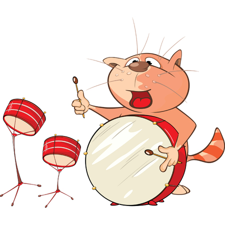 Illustration of a Cute Cat Drummer. Cartoon Character