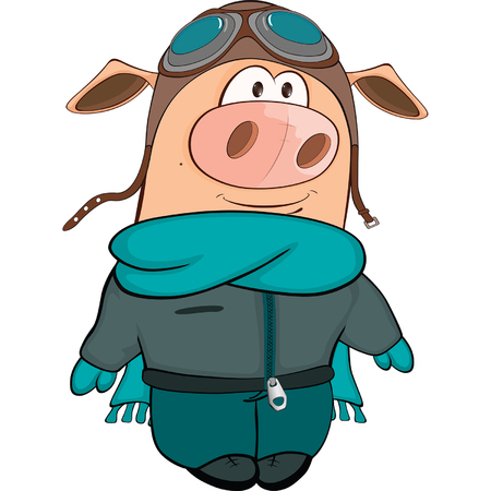 Illustration of a Cute Pig Aviator. Cartoon Character