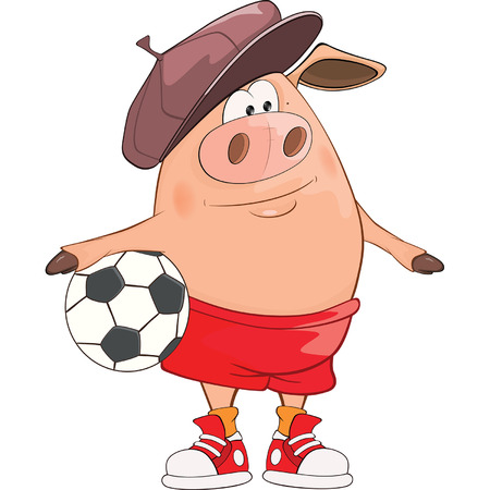 Illustration of a Cute Pig Footballer. Cartoon Character