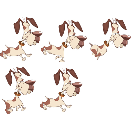 mongrel: Cartoon Character Cute Hunting Dog for a Computer Game Illustration