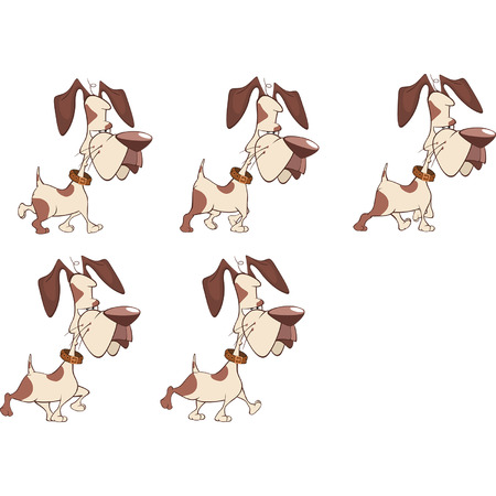 storyboard: Cartoon Character Cute Hunting Dog for a Computer Game Illustration