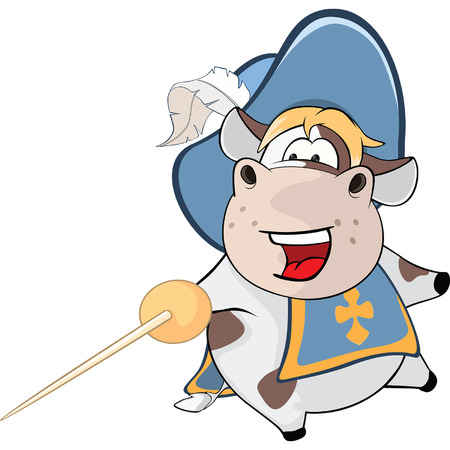 cattle guard: Illustration of Cute Cow. Kings Musketeer. Cartoon Character