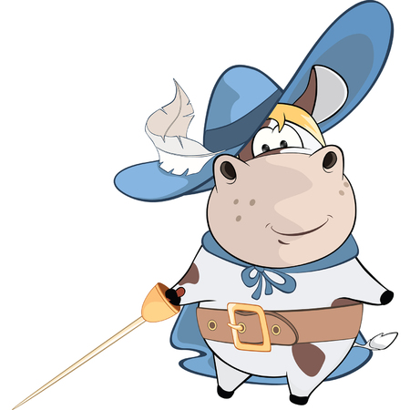 Illustration of Cute Cow. Kings Musketeer. Cartoon Character