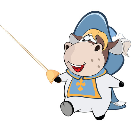 mosquetero: Ilustración de lindo de la vaca. Mosquetero del rey. Personaje animado
