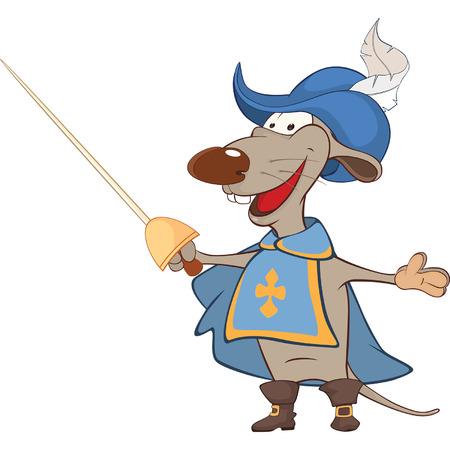 mosquetero: Ilustración de una rata linda. Mosquetero del rey. Personaje animado