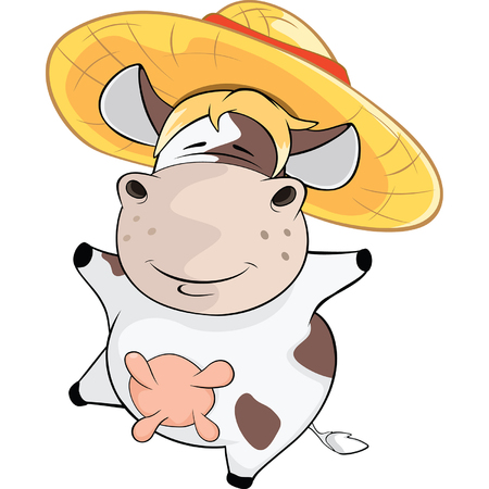 udders: Illustration of a Cow. Cartoon Character Illustration