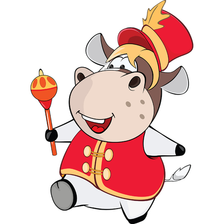 conducting: Illustration of a Cute Cow. Cartoon Character Illustration
