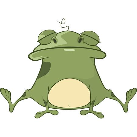 repulsive: Illustration of a Cute Green Frog. Cartoon Character