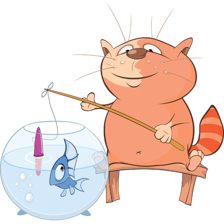 fisher: Cute Cat Fisherman Cartoon