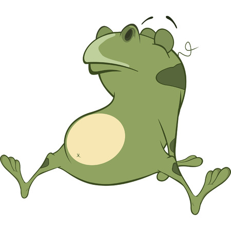 repulsive: Illustration of a Cute Green Frog. Cartoon Character