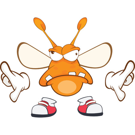 glowworm: Illustration of a Funny clothes moth. Cartoon Character