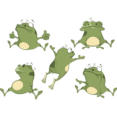 repulsive: Set of Cartoon Illustration A Cute Green Frogs for you Design
