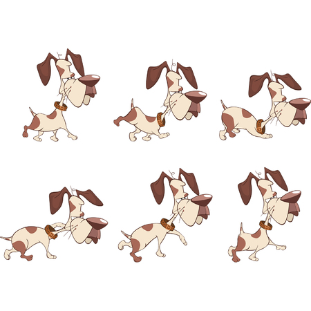 storyboard: Cartoon Character Cute Hunting Dog for a Computer Game. Storyboard Illustration